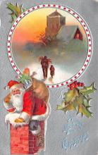 xms100193 - Santa Claus Post Card Old Vintage Antique Christmas Postcard