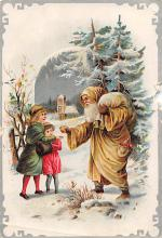 xms100201 - Santa Claus Post Card Old Vintage Antique Christmas Postcard