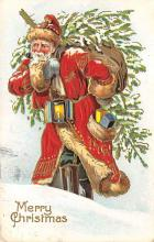 xms100205 - Santa Claus Post Card Old Vintage Antique Christmas Postcard