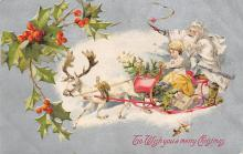 xms100207 - Santa Claus Post Card Old Vintage Antique Christmas Postcard