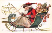 xms100209 - Santa Claus Post Card Old Vintage Antique Christmas Postcard