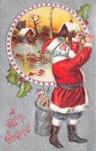 xms100211 - Santa Claus Post Card Old Vintage Antique Christmas Postcard
