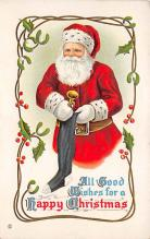 xms100217 - Santa Claus Post Card Old Vintage Antique Christmas Postcard
