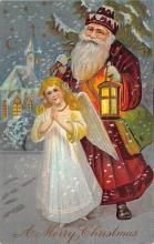 xms100221 - Santa Claus Post Card Old Vintage Antique Christmas Postcard