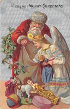 xms100227 - Santa Claus Post Card Old Vintage Antique Christmas Postcard