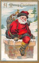 xms100235 - Santa Claus Post Card Old Vintage Antique Christmas Postcard