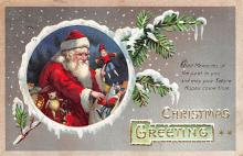 xms100243 - Santa Claus Post Card Old Vintage Antique Christmas Postcard