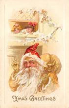 xms100247 - Santa Claus Post Card Old Vintage Antique Christmas Postcard