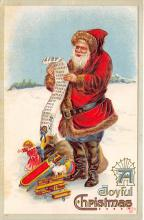 xms100251 - Santa Claus Post Card Old Vintage Antique Christmas Postcard