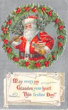 xms100255 - Santa Claus Post Card Old Vintage Antique Christmas Postcard