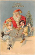 xms100261 - Santa Claus Post Card Old Vintage Antique Christmas Postcard
