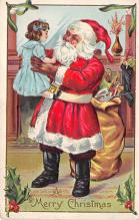 xms100269 - Santa Claus Post Card Old Vintage Antique Christmas Postcard