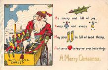 xms100275 - Santa Claus Post Card Old Vintage Antique Christmas Postcard