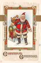 xms100279 - Santa Claus Post Card Old Vintage Antique Christmas Postcard