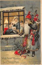 xms100283 - Santa Claus Post Card Old Vintage Antique Christmas Postcard