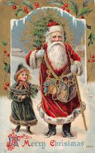 xms100289 - Santa Claus Post Card Old Vintage Antique Christmas Postcard