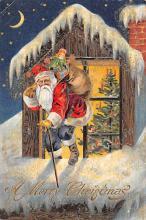 xms100291 - Santa Claus Post Card Old Vintage Antique Christmas Postcard