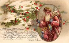 xms100293 - Santa Claus Post Card Old Vintage Antique Christmas Postcard