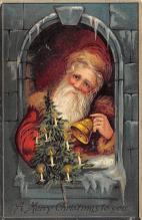 xms100303 - Santa Claus Post Card Old Vintage Antique Christmas Postcard