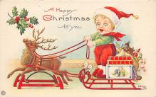 xms100305 - Santa Claus Post Card Old Vintage Antique Christmas Postcard