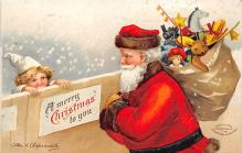 xms100311 - Santa Claus Post Card Old Vintage Antique Christmas Postcard