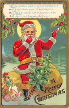 xms100323 - Santa Claus Post Card Old Vintage Antique Christmas Postcard