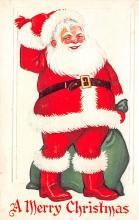 xms100329 - Santa Claus Post Card Old Vintage Antique Christmas Postcard