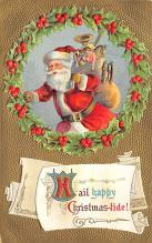 xms100341 - Santa Claus Post Card Old Vintage Antique Christmas Postcard