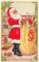 xms100355 - Santa Claus Post Card Old Vintage Antique Christmas Postcard