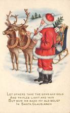 xms100361 - Santa Claus Post Card Old Vintage Antique Christmas Postcard