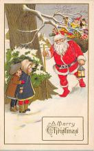 xms100363 - Santa Claus Post Card Old Vintage Antique Christmas Postcard
