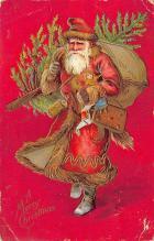 xms100381 - Santa Claus Post Card Old Antique Vintage Christmas Postcard