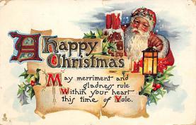 xms100387 - Santa Claus Post Card Old Antique Vintage Christmas Postcard
