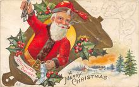 xms100393 - Santa Claus Post Card Old Antique Vintage Christmas Postcard