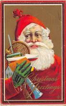 xms100395 - Santa Claus Post Card Old Antique Vintage Christmas Postcard