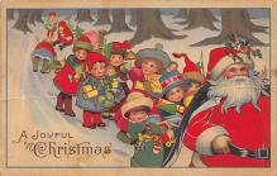 xms100407 - Santa Claus Post Card Old Antique Vintage Christmas Postcard