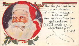 xms100411 - Santa Claus Post Card Old Antique Vintage Christmas Postcard