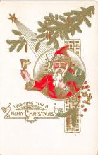 xms100413 - Santa Claus Post Card Old Antique Vintage Christmas Postcard