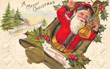 xms100415 - Santa Claus Post Card Old Antique Vintage Christmas Postcard