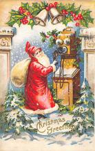 xms100419 - Santa Claus Post Card Old Antique Vintage Christmas Postcard