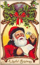 xms100439 - Santa Claus Post Card Old Antique Vintage Christmas Postcard