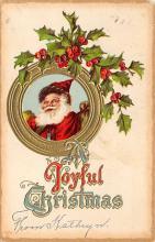 xms100441 - Santa Claus Post Card Old Antique Vintage Christmas Postcard