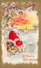 xms100443 - Santa Claus Post Card Old Antique Vintage Christmas Postcard
