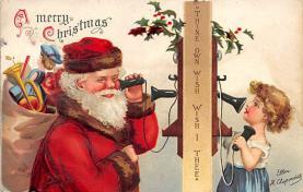 xms100455 - Santa Claus Post Card Old Antique Vintage Christmas Postcard
