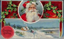 xms100469 - Santa Claus Post Card Old Antique Vintage Christmas Postcard