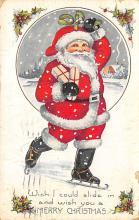 xms100475 - Santa Claus Post Card Old Antique Vintage Christmas Postcard