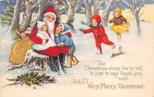 xms100477 - Santa Claus Post Card Old Antique Vintage Christmas Postcard