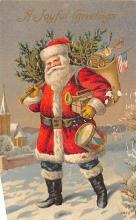 xms100481 - Santa Claus Post Card Old Antique Vintage Christmas Postcard