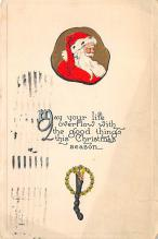 xms100485 - Santa Claus Post Card Old Antique Vintage Christmas Postcard