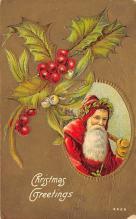 xms100489 - Santa Claus Post Card Old Antique Vintage Christmas Postcard